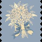tissu gutermann gerbe fleurs bleues