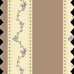 Tissu gutermann rayé marron écru fleurs